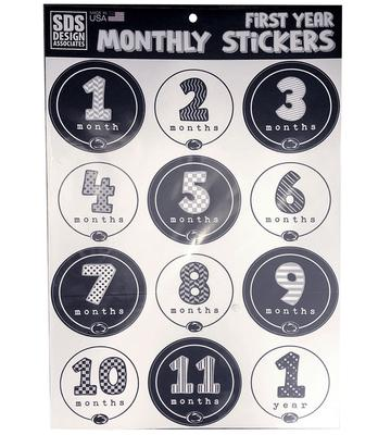 SDS Design - Penn State Baby 1st Year Monthly Sticker Sheet