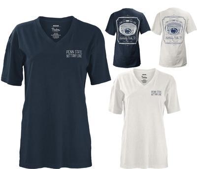 Press Box - Penn State Women's Framed Football V-Neck T-Shirt