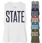 Penn State Women's Distressed State Crop Tank