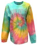 Penn State Women's Corded Tie Dye Crewneck Sweater RAINBOW