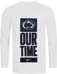 Penn State Nike Men's Dri-Fit Basketball Bench Long Sleeve T-Shirt WHITE