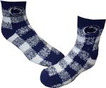 Penn State Fuzzy Buffalo Check Sock