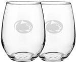 Penn State White Wine 15oz Stemless Glass Set